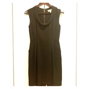 Ann Taylor LOFT black wool drop collar dress